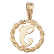 9ct Gold Round rope edged Initial letter C pendant 0.8g